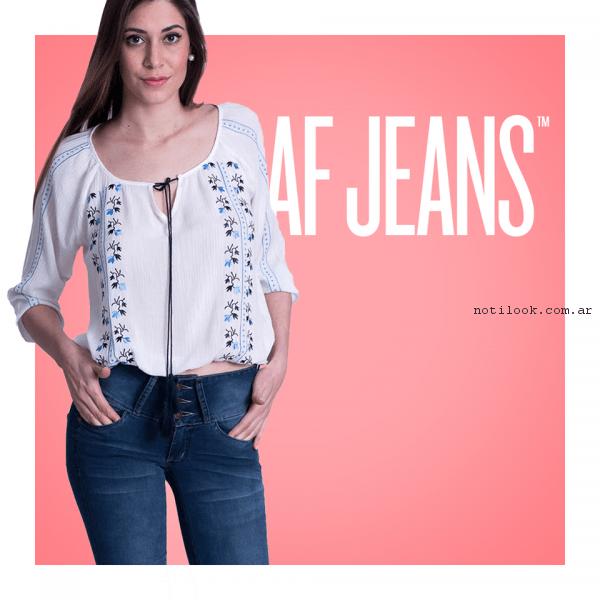 blusa casual bordada af jeans primavera verano 2017