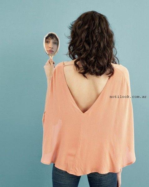blusa con escote en la espalda inedita verano 2017