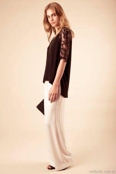 blusa con manga de encaje sarawak verano 2017