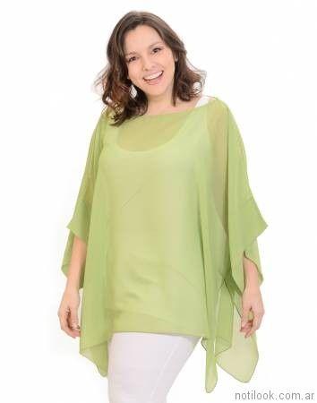 blusa de gasa en talles grandes portofem verano 2017