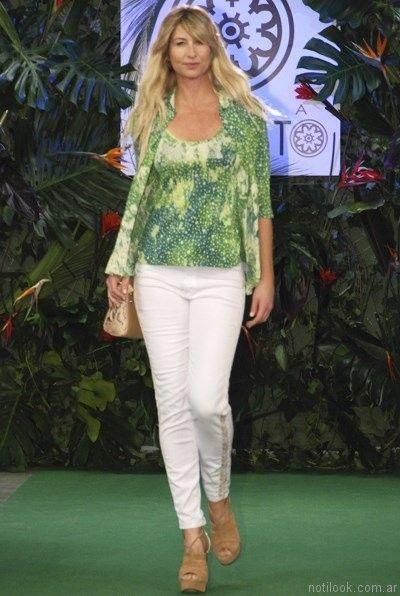 blusa verde estampada mirta armesto verano 2017