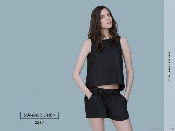 blusa y short de lino negro chocolate verano 2017