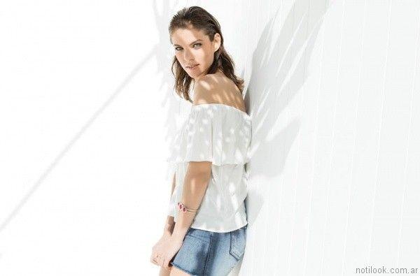 blusas con volados octanos jeans verano 2017