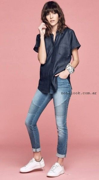 camisa y chupin de jeans primavera verano 2017 - Melocoton