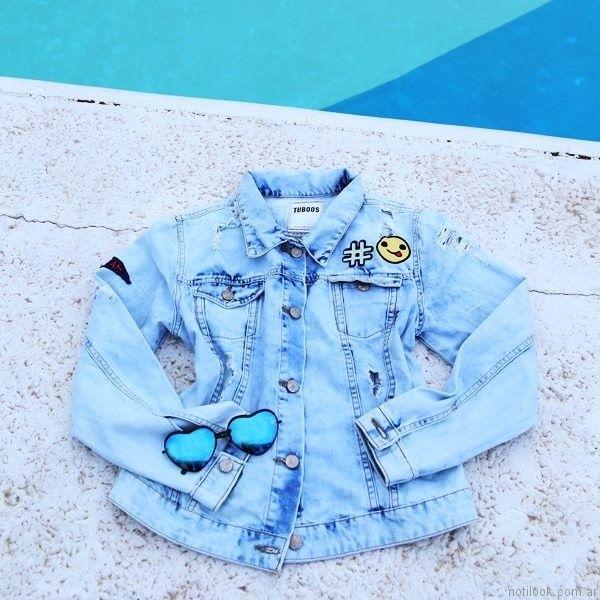 campera de jeans con apliques tuboos moda para teenager primavera verano 2017