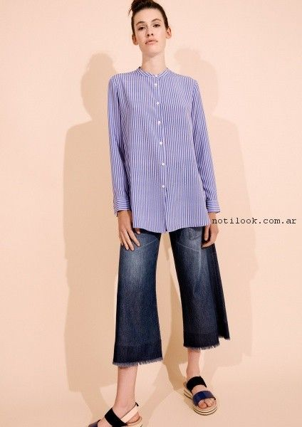 crop pant de jeans y camisa a rayas mujer Graciela Naum primavera verano 2017