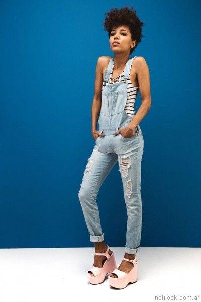 jardinero largo de jeans con roturas tabata jeans primavera verano 2017