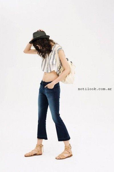 jeans capri y top estilo camisa inedita verano 2017