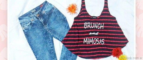 jeans lavados y top a rayas octanos jeans verano 2017