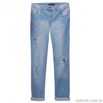 jeans recto con roturas mamy blue verano 2017