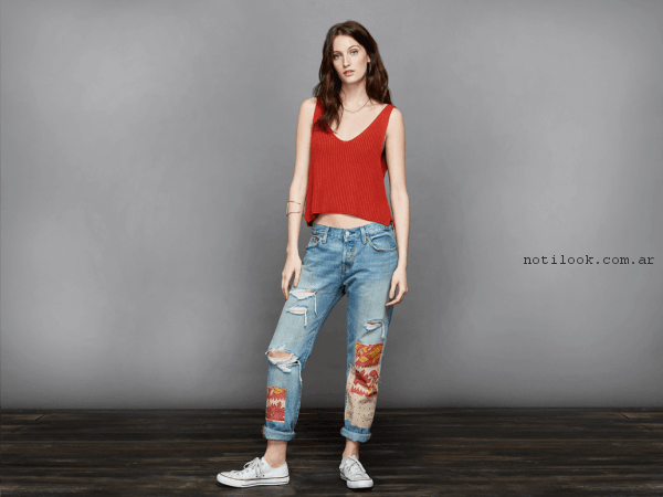 jeans recto con roturas y parches levis primavera verano 2017