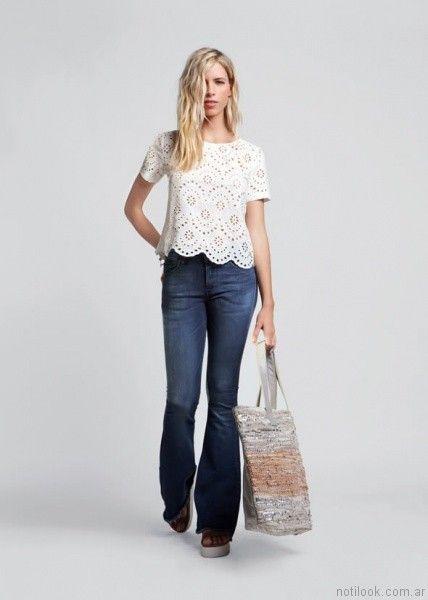 jeans y blusa calada kevingston mujer verano 2017