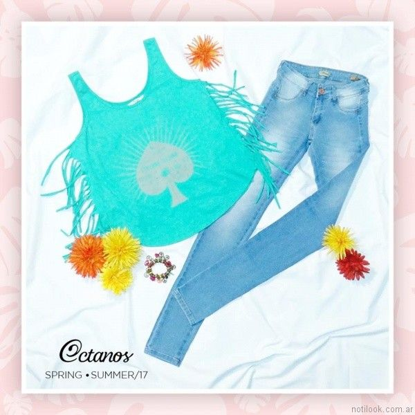 musculosa con flecos octanos jeans verano 2017