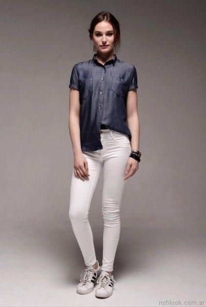 pantalon chupin blanco viga jeans verano 2017