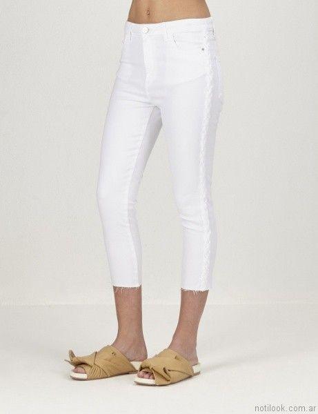 pantalon de gabardina blanco ginebra primavera verano 2017
