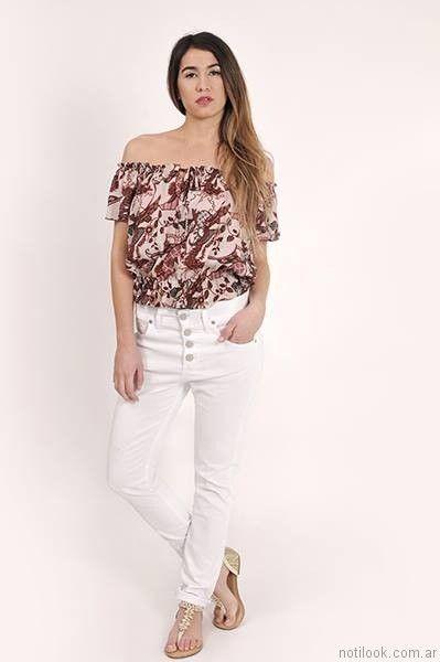 pantalon de gabardina blanco
