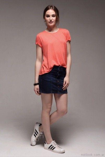 pollera abotonada viga jeans verano 2017