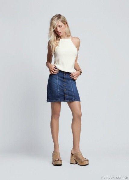 pollera de jeans abotonada kevingston mujer verano 2017