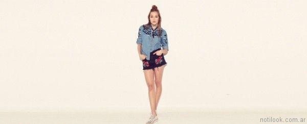 short jeans bordado ropa materia primavera verano 2017