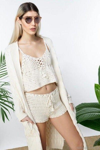 top y short tejido crochet millie primavera verano 2017
