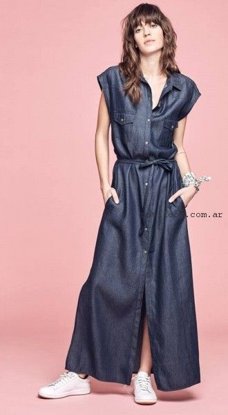vestido camisera de jeans primavera verano 2017 - Melocoton
