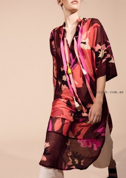 vestido de dia informal estilo tunica estampado Graciela Naum primavera verano 2017