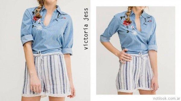blusa denim bordada con hilos victoria jess primavera verano 2017