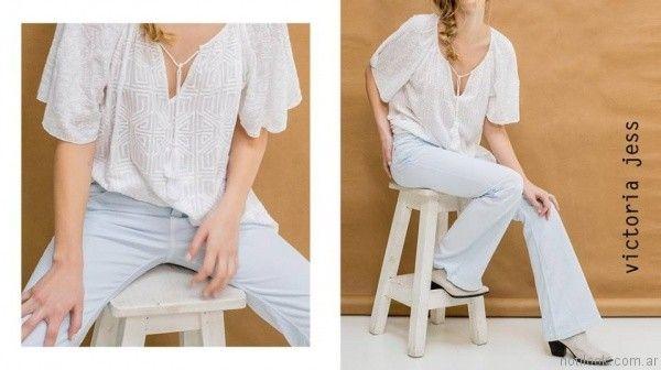 blusa y jeans oxford victoria jess primavera verano 2017