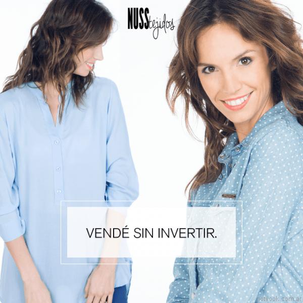 camisa celeste para mujer nuss tejidos primavera verano 2017