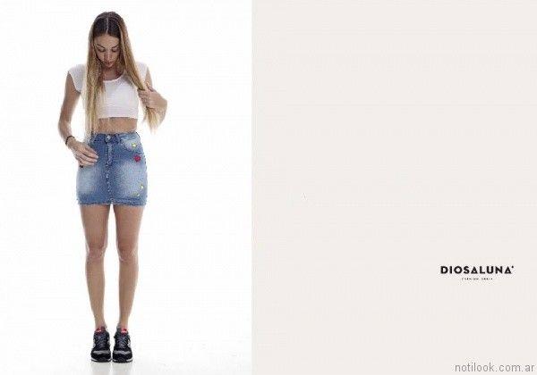 pollera con apliques diosa luna jeans verano 2017