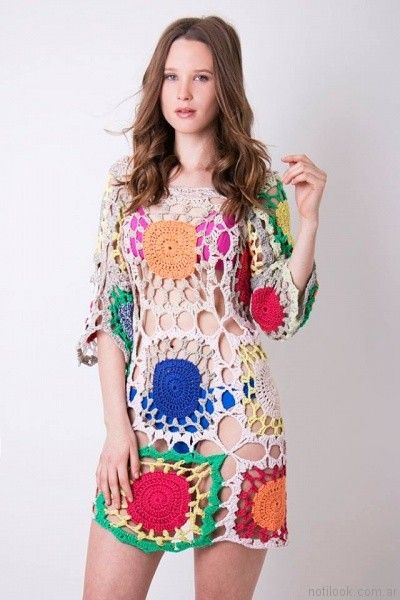 vestido con mangas a crochet verano 2017 enriquiana