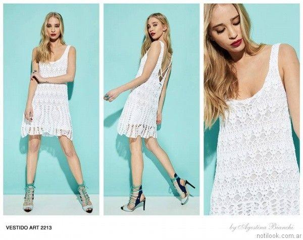 vestido corto blanco a crochet agostina bianchi verano 2017