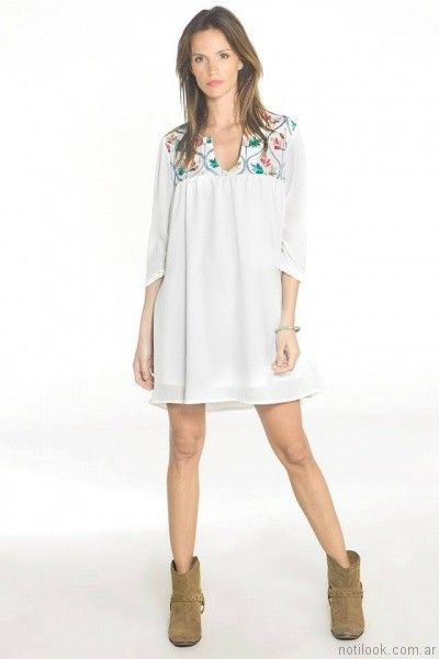 vestido corto estilo tunica para el dia nuss tejidos verano 2017