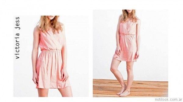 vestido corto rosa victoria jess primavera verano 2017