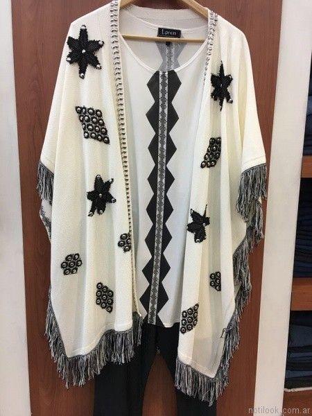 blusas con ruana bordada loren talles grandes verano 2017