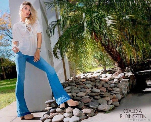 jeans oxford con camisa blanca claudia rubinsztein verano 2017
