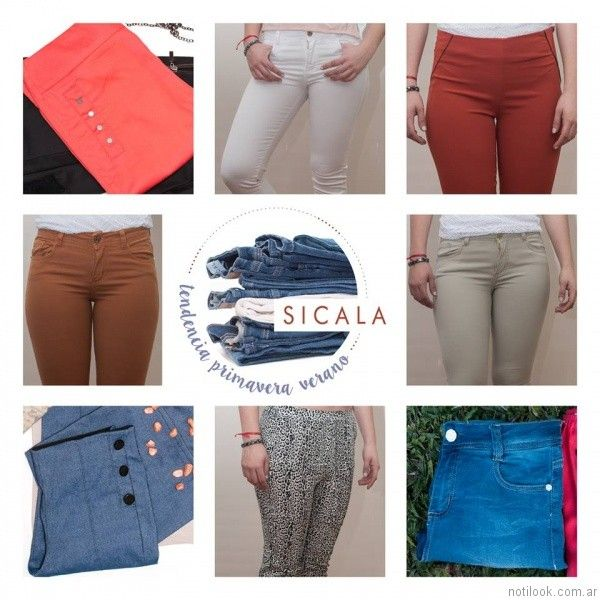 pantalones de colores gabardina sicala verano 2017