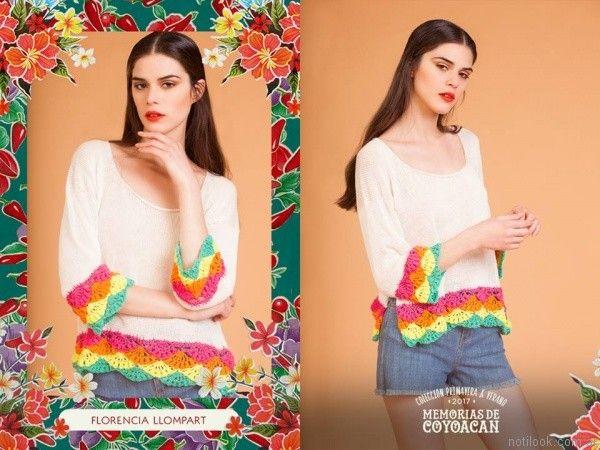 remeras con guardas de crochet florencia llompart verano 2017