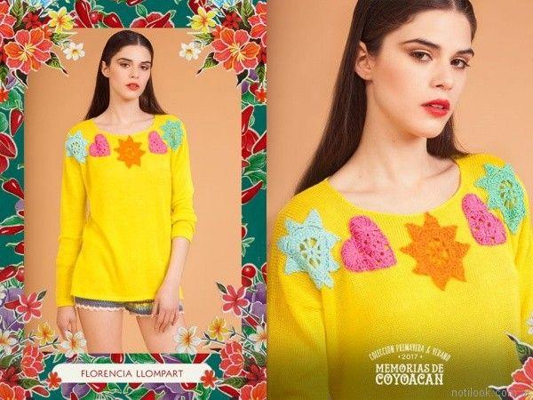 sweater con detalles en crochet florencia llompart verano 2017