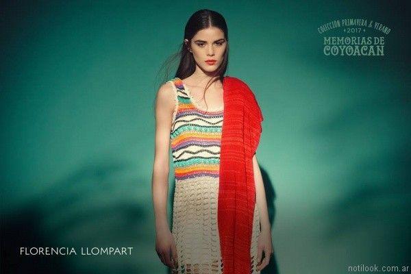 vestido corto a crochet florencia llompart verano 2017