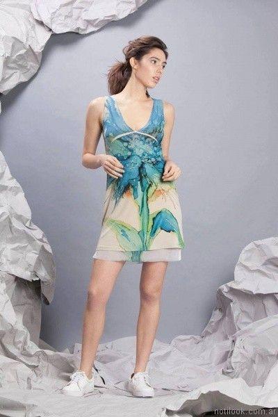 vestido corto estampado para el dia exordio verano 2017