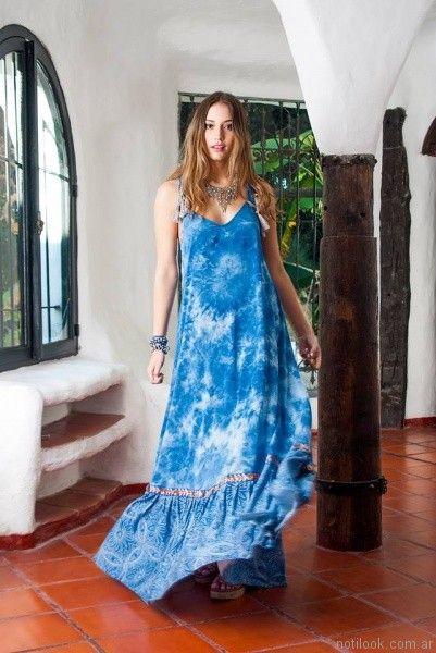 vestido largo estampa batik carola lev verano 2017
