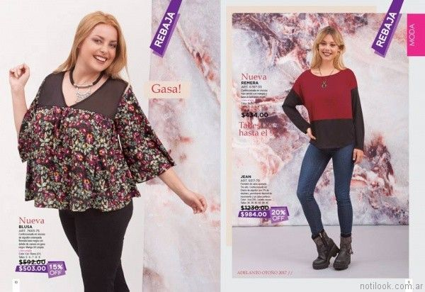 blusa estampada de gasa talle grande otoño invierno 2017   Juana Bonita