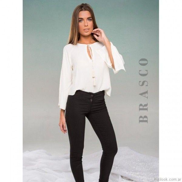 blusa mangas larga blanca otoño invierno 2017   Brasco