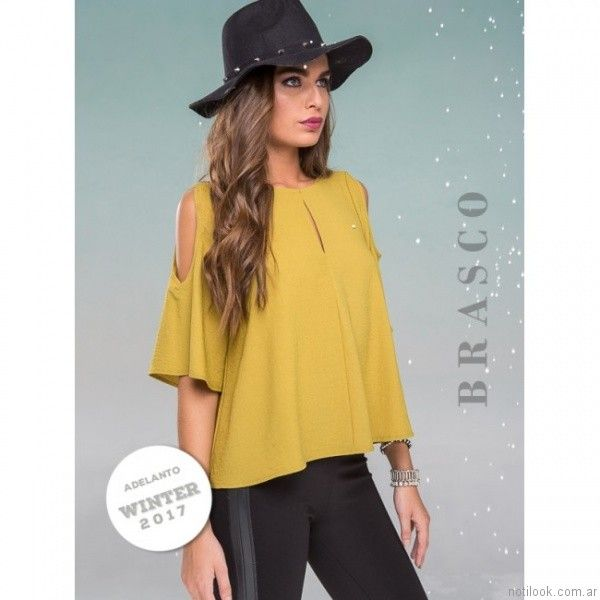 blusa mostaza otoño invierno 2017   Brasco
