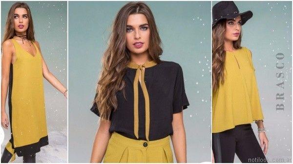 Brasco look en negro y amarillo mostaza invierno 2017
