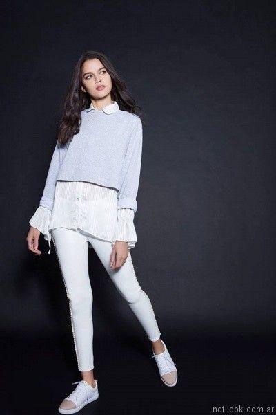 camisa blanca mujer otoño invierno 2017 Pura pampa