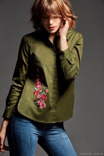 camisa mangas largas mujer borda en hilos las oreiro otoño invierno 2017