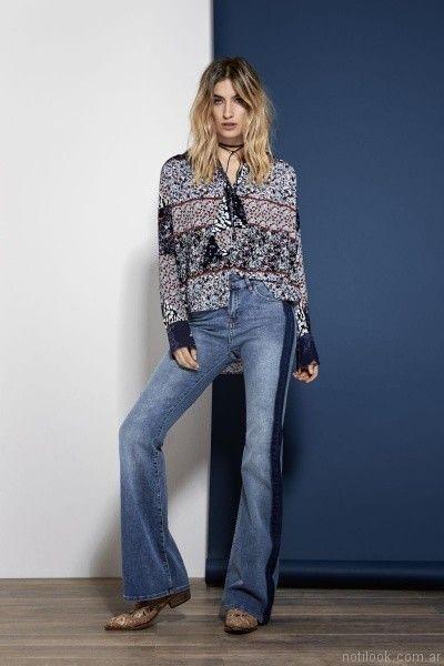 camisola estampada con jeans oxford Kosiuko otoño invierno 2017