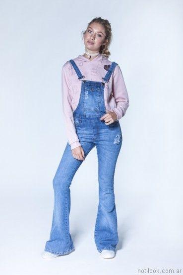 jardinero de jeans largo otoño invierno 2017   47 Street